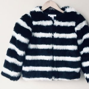 Other - Softest B&W Striped Faux Fur Coat